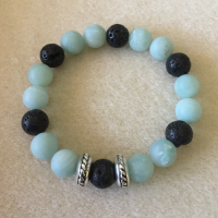 Heather Stanworth Amazonite Frosted Blue Black Lava Bracelet £11.99