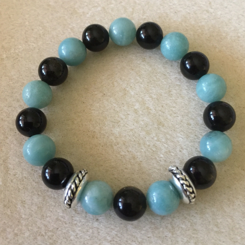 Heather Stanworth Amazonite Smooth Blue Black Obsidian Bracelet £12.99
