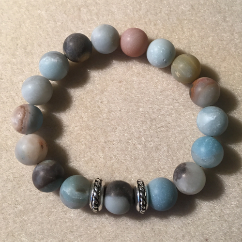 Heather Stanworth Mens Amazonite Frosted Mix Bracelet £14.99